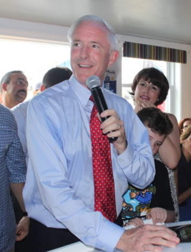 Bridgeport Mayor Bill Finch formally announces his bid for re-election at Captain's Cove earlier this month.