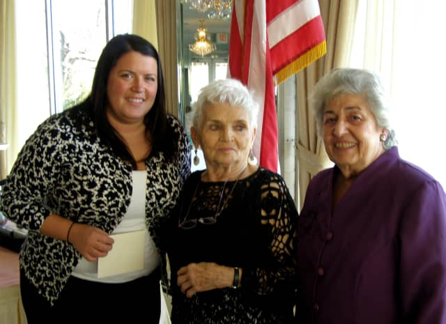 Eastchester Superintendent of Recreation\Sally Veltidi with Doris Kramer and Ann Pazzola of the Eastchester Women's Club at the Davenport Country Club.