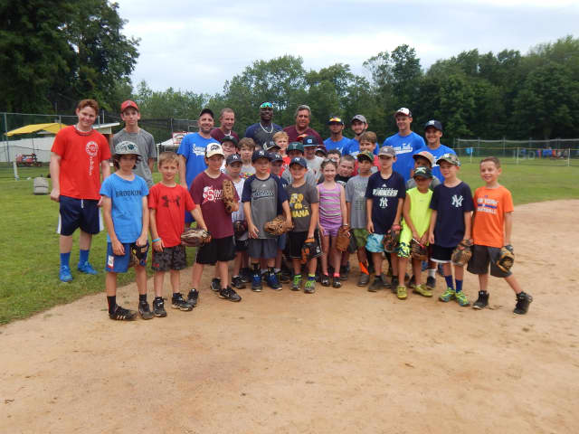 New York Yankee shortstop Didi Gregorius swung by the Summer Trails Day Camp in Somers on July 21 to teach the campers technique and about life in the Major Leagues.