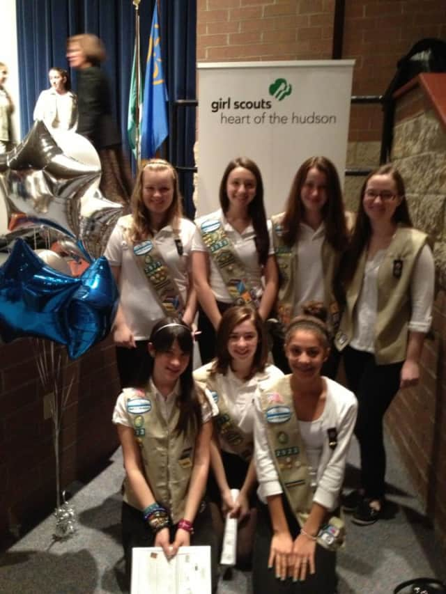 Members of Girl Scout Troop 2923 were honored Saturday with the Silver Award. From left, top: Caelyn McGowan, Bridget Terciera, Cynthia Schmidt, Meg Donohue. From left, bottom: Natasha Kirby, Teresa DeVino, Laurunce Rosenthal.