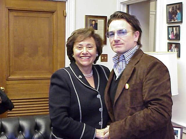 Congresswoman Nita Lowey with Bono back in 2002.