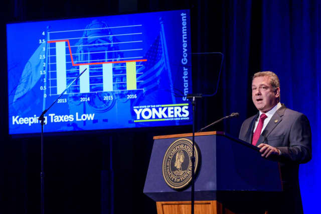 Yonkers Mayor Mike Spano and commercial brokers toured the city's office spaces Wednesday.