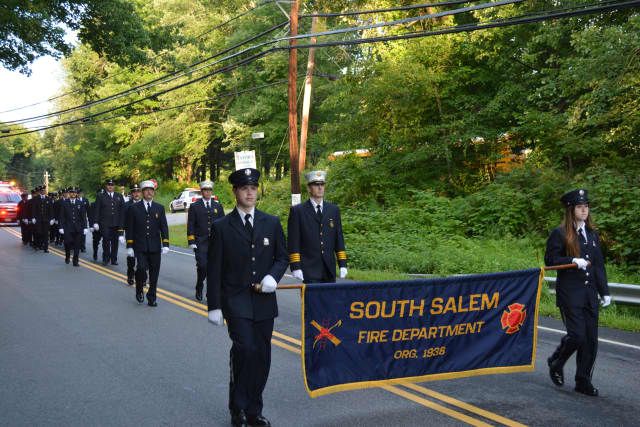 South Salem firefighters marching in their 2014 parade.