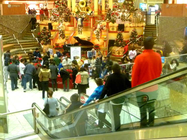 Shoppers looking for holiday gifts fill the Stamford Town Center on Black Friday a few years ago.