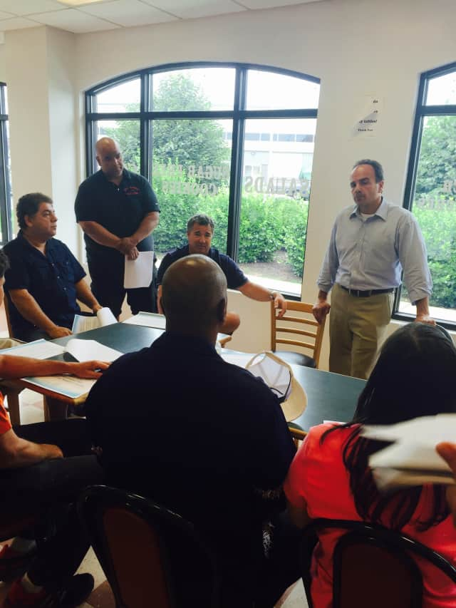 Mayoral Candidate Joe Ganim speaks at a community roundtable at an event earlier this month.