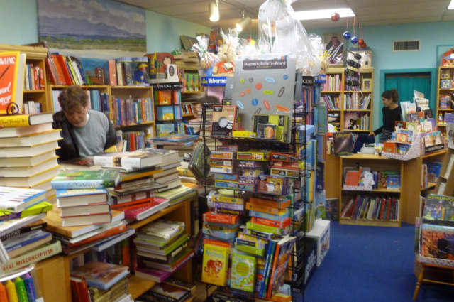 A few shoppers browsed the shelves at Galapagos Books in Hastings on Saturday.