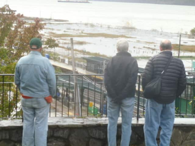 Hastings residents look at the waterfront area that is the focus of plans for revitalization.