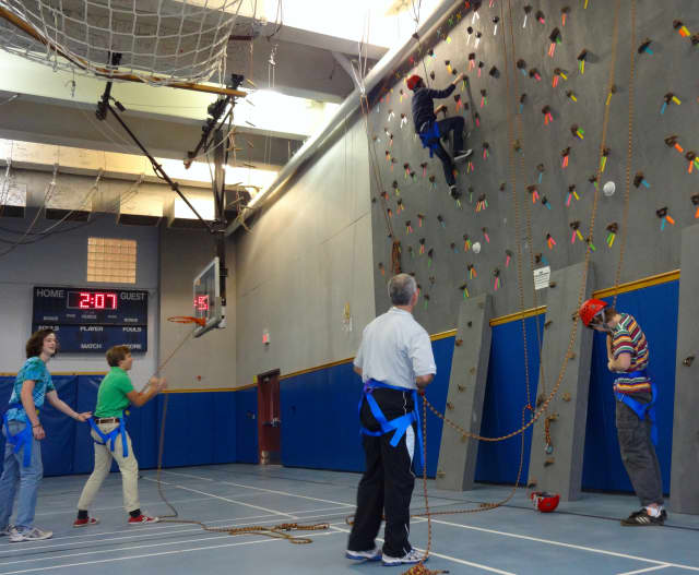 The Bronxville School installed a rock-climbing wall in July after it received a $24,000 grant.