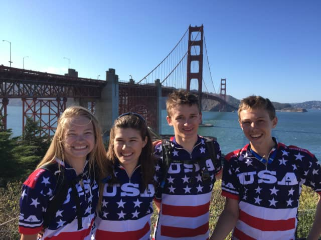 Five Westchester County teens finished a bike relay for pediatric cancer research at the Golden Gate Bridge last week. From left are: Erika Feldman, Cassidy Marriott, Tustin Neilson, William Marriott. Not pictured is Jean Mpalomby.