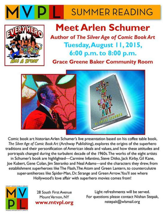 Author Arlen Schumer will give a presentation on superheroes at Mount Vernon Public Library on Aug. 11.