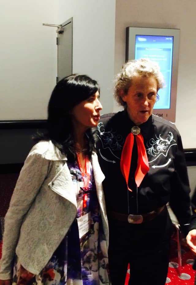 Friends of Autistic People President Brita Darany von Regensburg, left, poses with autism advocate Dr. Temple Grandin at the 46th Annual Autism Society National Conference held July 8-11 in Denver.
