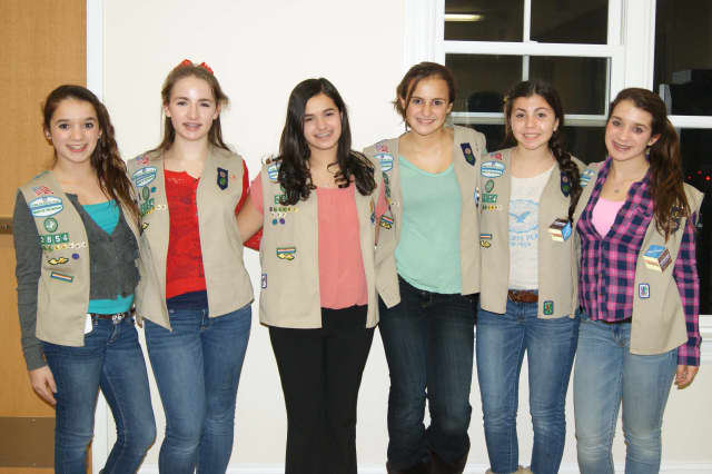 Girls Scouts from Troop 2854 are among those who received the silver award on Nov.18. From left are: Heather Pastore, Carolyn Diamond, Amanda Siciliano, Julia D'Innocenzo, Olivia Marino and Hannah Pastore.