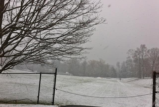 Ridgefield's snow-covered Veterans Park becomes a field of white.