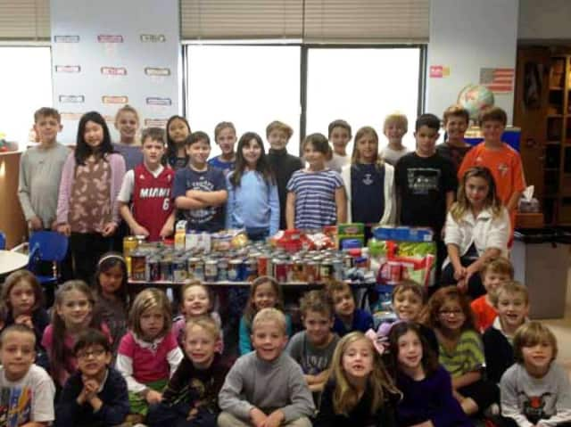 Midland School classes in Rye held a canned food drive for Stew Leonards in Yonkers for victims of Hurricane Sandy.