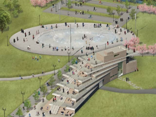 An artist's rendering of the Whittingham Discovery Center in Stamford's Mill River Park.