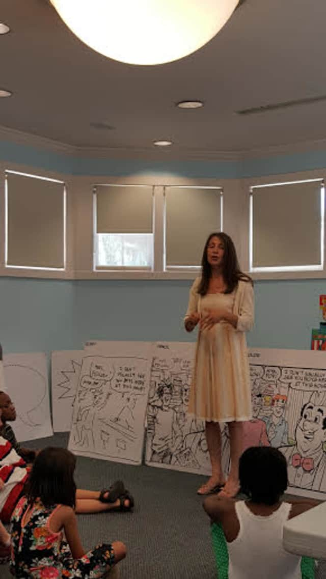 Nancy Silberkleit, co-CEO Archie Comics spoke at Pelham Public Library.