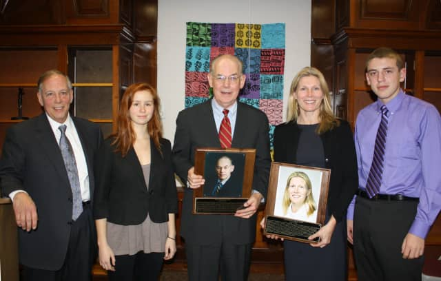 Croton-Harmon High School Principal Alan Capasso, from left, and senior Lucy Stockton congratulate 2012 Hall of Distinguished Graduates inductees John Mearsheimer and Maryjane Giblin Farr along with senior Brendan Roeschel.