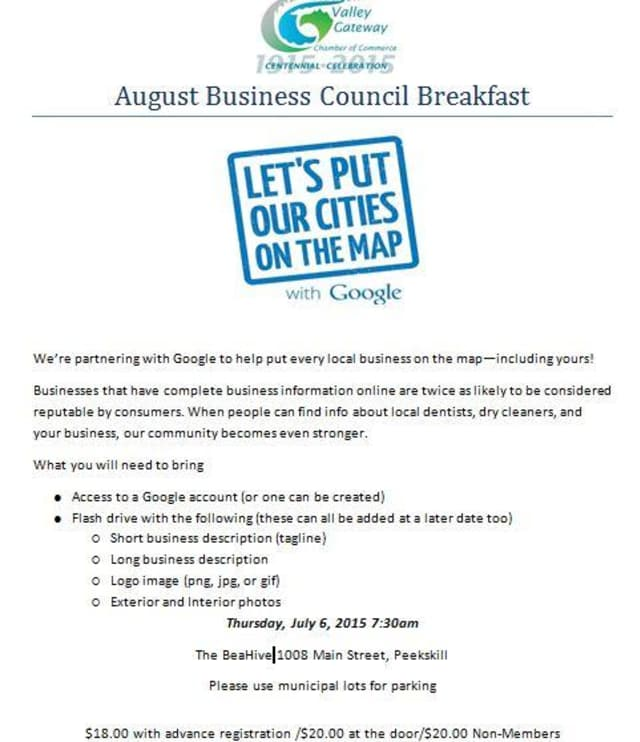 The Hudson Valley Gateway Chamber of Commerce will hold a breakfast workshop on getting businesses online on Thursday.