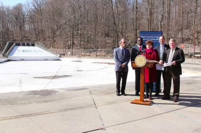 Legislators and local officials were at the dry Sprain Ridge Pool in 2013 to push for repairs.