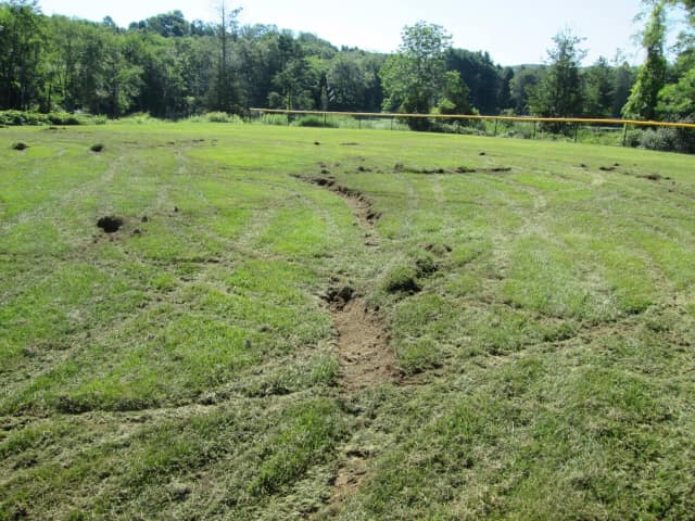 The grass is damaged at the Shadow Lake ball field in Ridgefield.