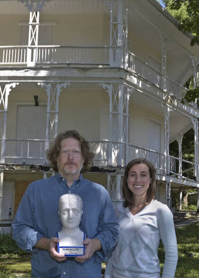 Brian Stevens, archivist and special collections librarian and Assistant Archivist Jamie Cantoni at The Octagon House.