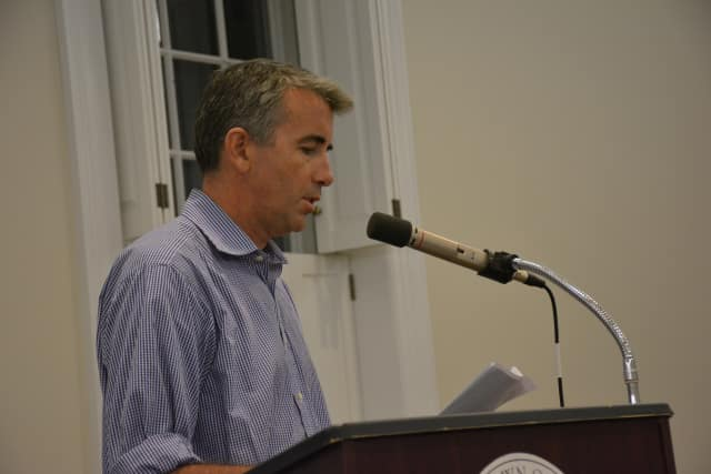 Patrick Brennan speaks at the Bedford Town Board's meeting on Tuesday.