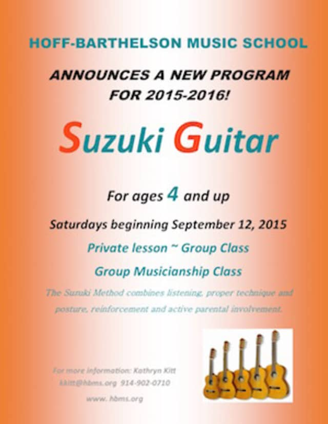New this year: Suzuki guitar for 4 years old and up! A great opportunity for young hands to learn chords and strumming.