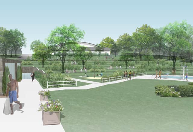 Concept design of the landscape at the proposed Scarsdale indoor pool facility.