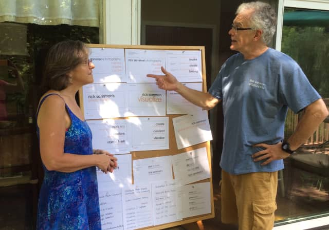 Hudson Valley Graphic Design's Janeen Violante and photographer Rick Sammon discuss strategy at a recent meeting on his branding project.