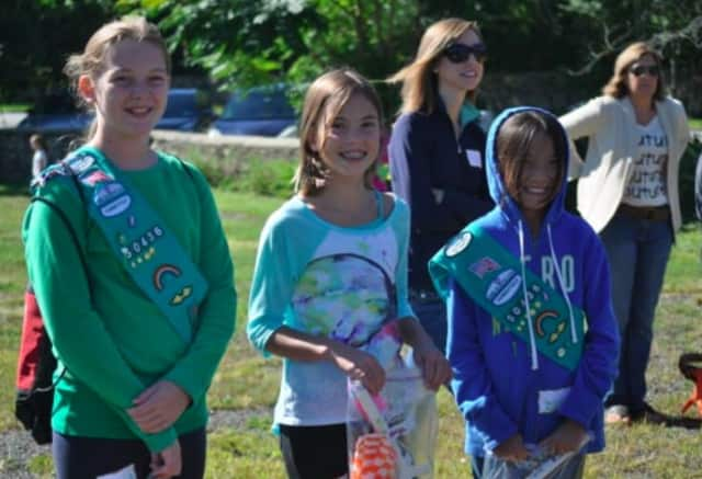 Maya Watson (center) with other Girl Scouts from Connecticut at the competition.