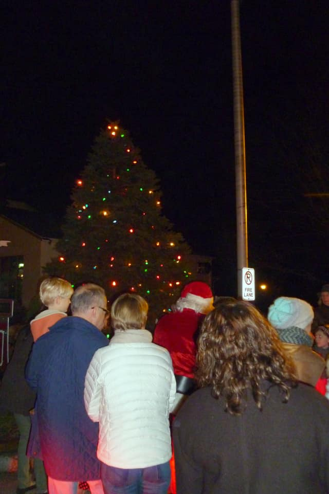 Santa and friends gather at last year's Pound Ridge tree-lighting ceremony, which attracted more than 100 people.