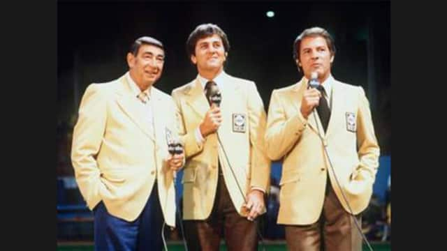 Frank Gifford, right, teamed with Howard Cosell, left, and Don Meredith in the early years of Monday Night Football on ABC.