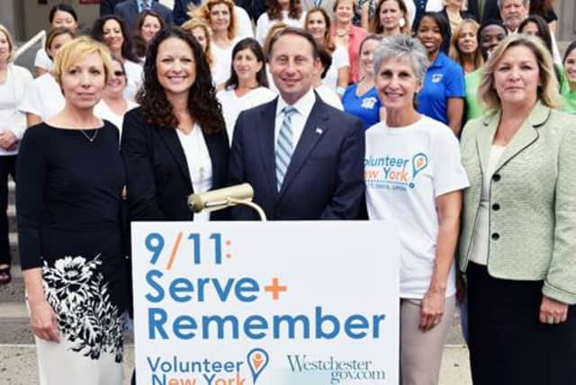 County Executive Rob Astorino and officials who took part in 9/11 National Day of Service in 2014.