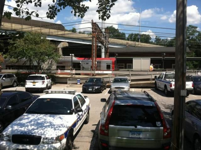 The train that hit a woman at the Cos Cob station remained at the station late Friday morning.