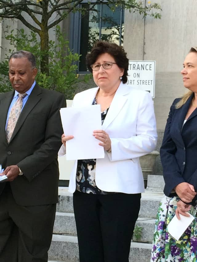 MaryJane Shimsky, center, and other Westchester County legislators, speak Monday in White Plains about the gas pipeline project.