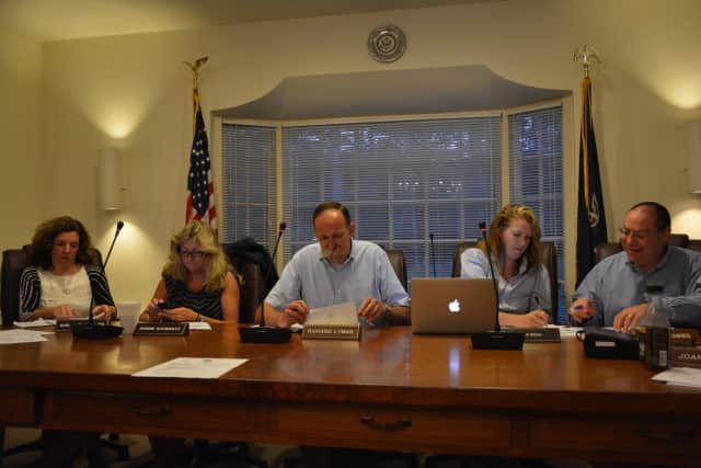 Pound Ridge's Town Board, pictured, voted to fund online streaming of meetings, which will be effective in January.
