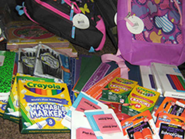 All the school supplies needed to fill a backpack as part of ANDRUS' drive in Eastchester and Yonkers.