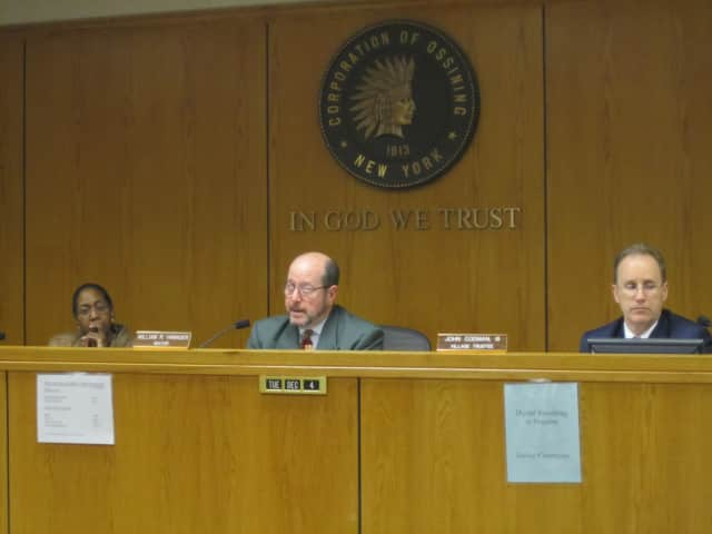 Ossining Mayor William Hanauer, middle, speaks about the 2013 budget Tuesday night.
