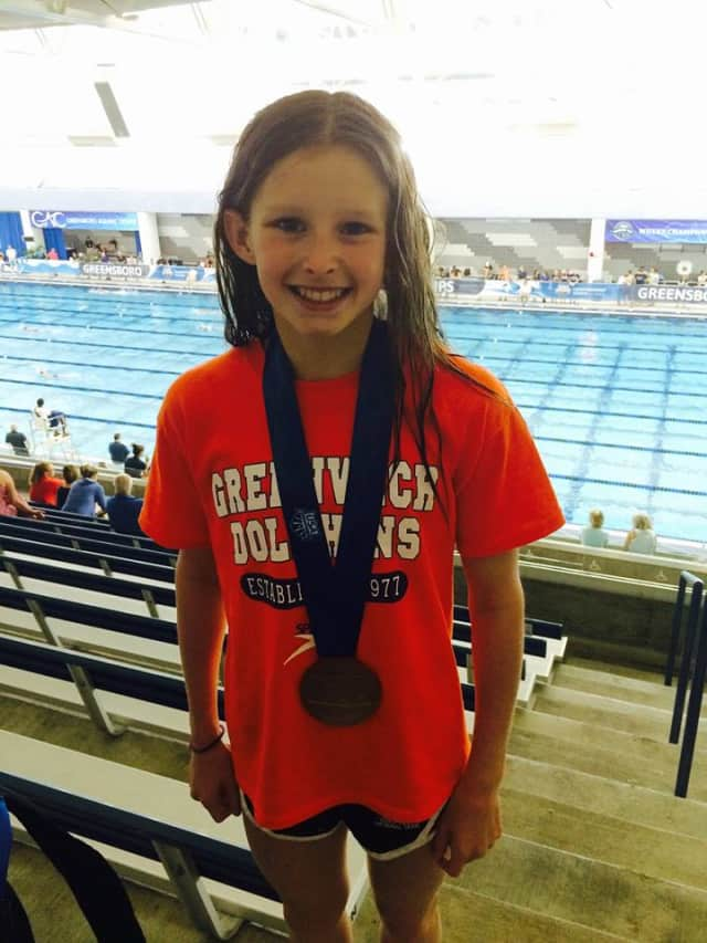 Meghan Lynch of the Greenwich Dolphins won five gold medals at the recent Eastern Zone age group championships in Richmond, Va.