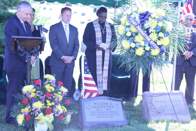 William E. Mounteney, the first probation officer in Westchester County, was honored in a formal ceremony and a monument placed on his grave..