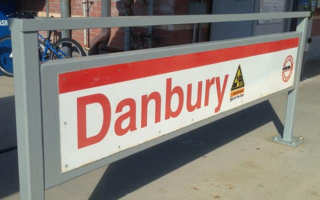 A man was hit by a train just south of the Danbury station on Friday night.