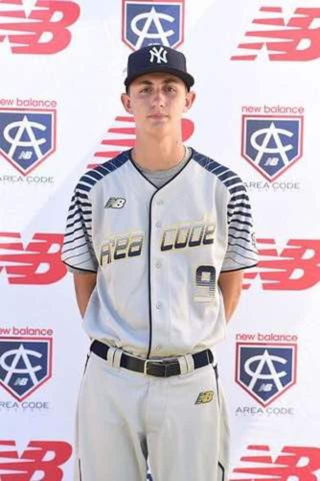 Rye High School pitcher George Kirby in his Area Code Baseball team uniform. He started on Saturday for a team sponsored by the New York Yankees..
