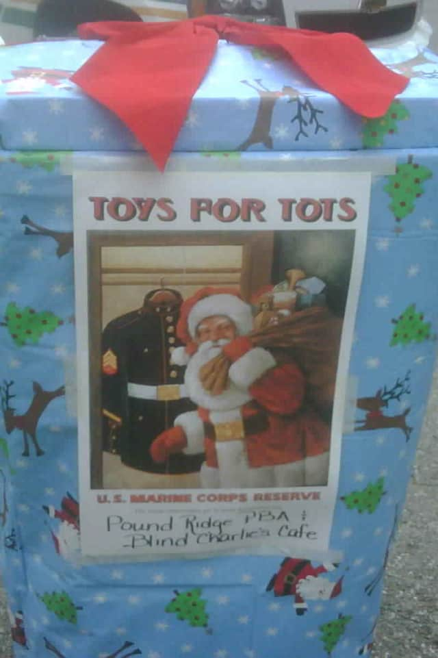 The Pound Ridge PBA's Toys for Tots collection box outside Blind Charlie's. Boxes can also be found at Scotts Corner Market and outside the police station.