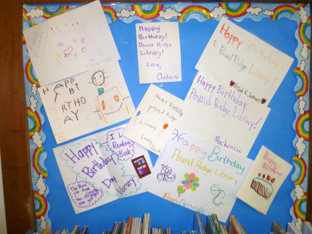 Young patrons of the Pound Ridge Library have been creating their own birthday cards to mark the institution's 60th anniversary.
