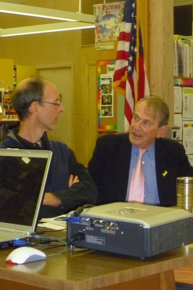 Lewisboro Town Board member Dan Welsh, left, and Supervisor Peter Parsons discuss the storm debris removal plan.