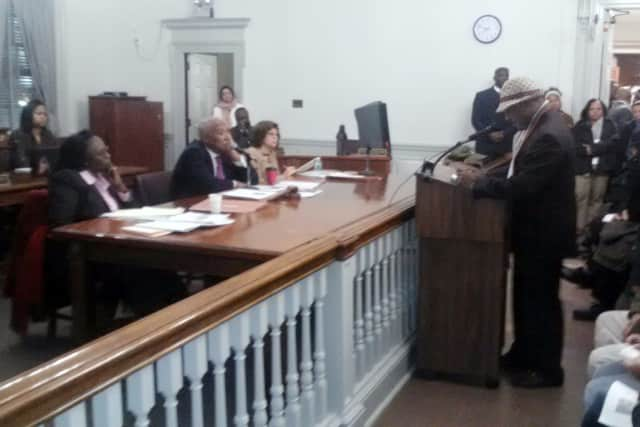 Mount Vernon residents including Samuel Rivers protested the proposed 2013 budget Thursday night at a Mount Vernon City Council meeting.