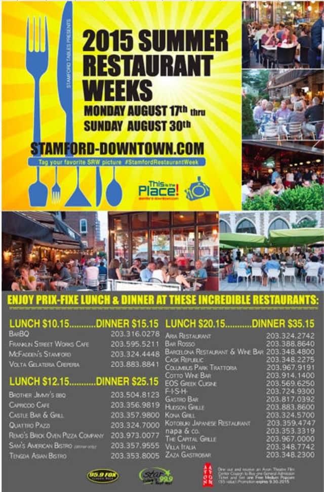 Stamford Restaurant Week Begins August 17 Stamford Daily Voice