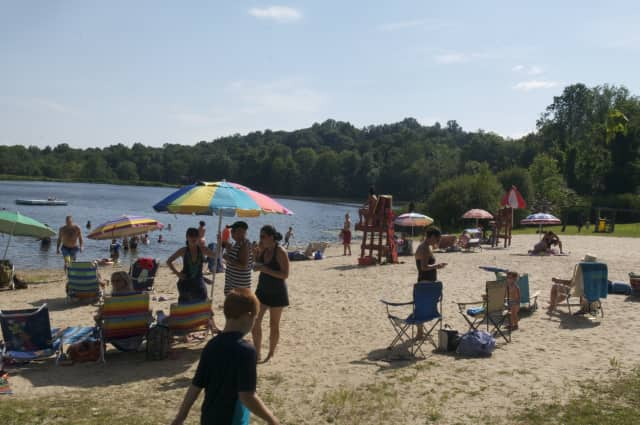 Beachgoers beat the heat.