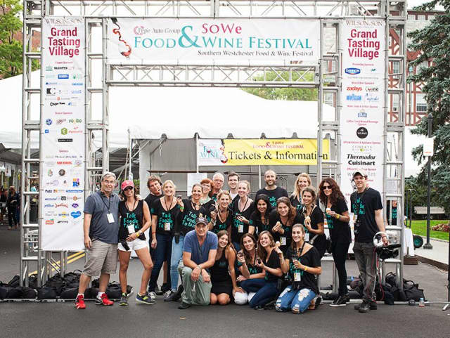 SOWE staff from last year's food and wine festival in Scarsdale pose for a group shot.