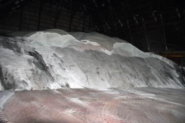 North Salem's salt shed on June Road is currently half-full.